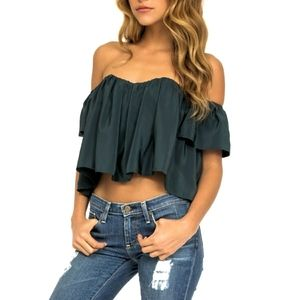 STONE COLD FOX Holy crop tube top emerald blouse 1